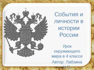 События и личности в истории России Урок окружающего мира в 4 классе Автор: Л