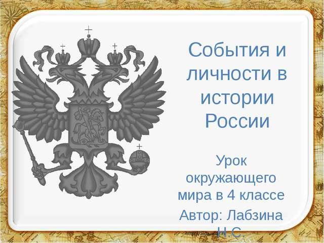 События и личности в истории России Урок окружающего мира в 4 классе Автор: Л...
