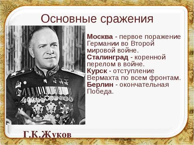 Основные сражения Москва - первое поражение Германии во Второй мировой войне....