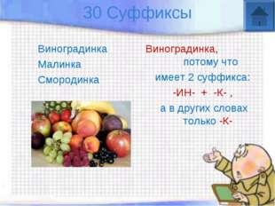 30 Суффиксы Виноградинка Малинка Смородинка Виноградинка, потому что имеет 2