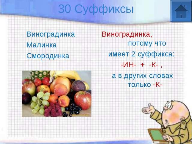 30 Суффиксы Виноградинка Малинка Смородинка Виноградинка, потому что имеет 2...