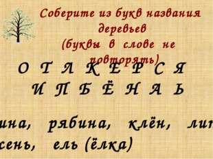 Соберите из букв названия деревьев (буквы в слове не повторять) О Т Л К Е Р С