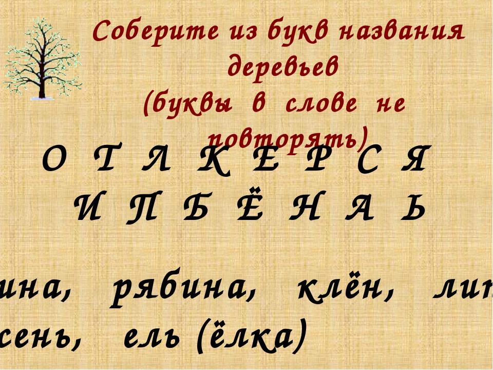 Соберите из букв названия деревьев (буквы в слове не повторять) О Т Л К Е Р С...
