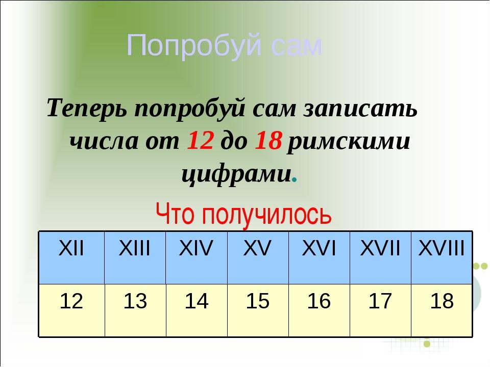 Попробуй сам Теперь попробуй сам записать числа от 12 до 18 римскими цифрами....