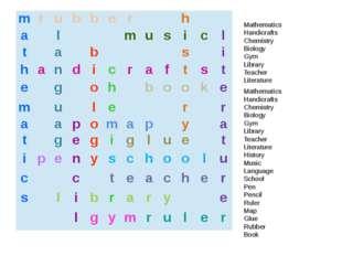 Mathematics Handicrafts Chemistry Biology Gym Library Teacher Literature Math