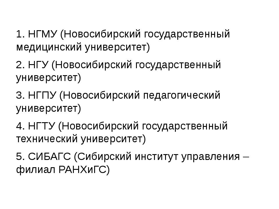 1. НГМУ (Новосибирский государственный медицинский университет) 2. НГУ (Ново...