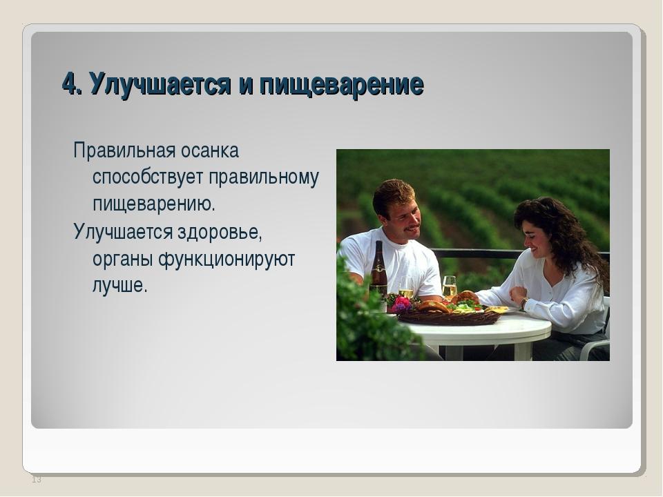 4. Улучшается и пищеварение Правильная осанка способствует правильному пищева...
