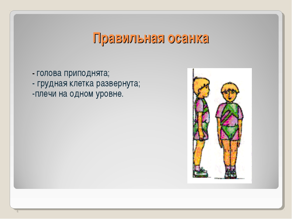 Правильная осанка - голова приподнята; - грудная клетка развернута; -плечи на...