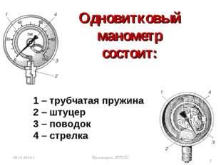 Одновитковый манометр состоит: Красноярск, КТТПП * 1 – трубчатая пружина 2 –