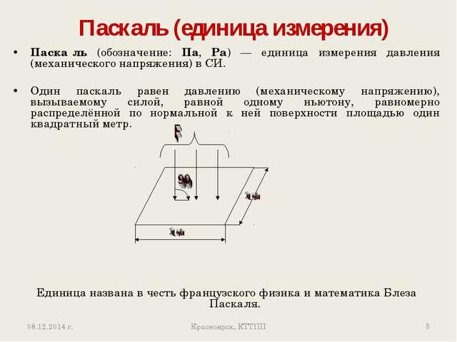 Паскаль (единица измерения) Красноярск, КТТПП * Паска́ль (обозначение: Па, P...