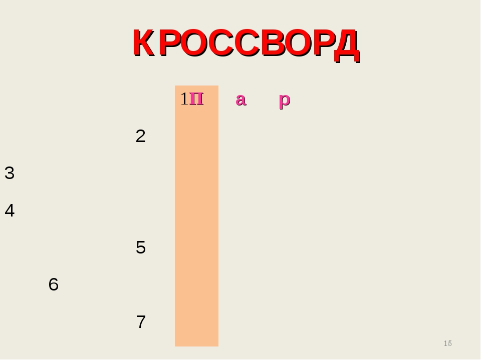 КРОССВОРД * 1Пар 2 3 4 5 6...