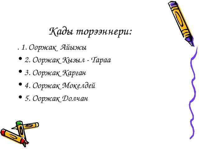 Кады торээннери: . 1. Ооржак Айыжы 2. Ооржак Кызыл - Тараа 3. Ооржак Карган 4...