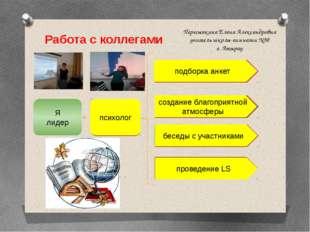 Работа с коллегами Пересыпкина Елена Александровна учитель школы-гимназии №30