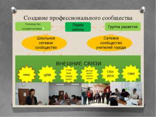 Создание профессионального сообщества Руководящая группа Координирующая групп