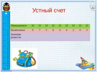 Устный счет Уменьшаемое 10 10 10 10 10 10 10 10 10 Вычитаемое 9 7 5 8 6 4 2 0