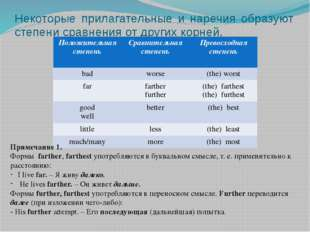 Некоторые прилагательные и наречия образуют степени сравнения от других корне