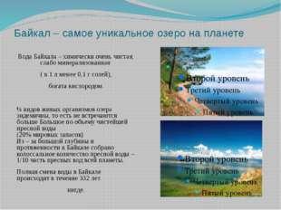 Байкал – самое уникальное озеро на планете Вода Байкала – химически очень чис