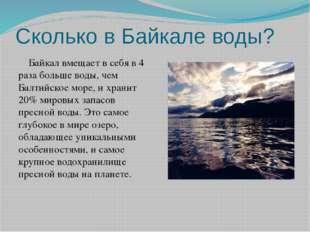 Сколько в Байкале воды? Байкал вмещает в себя в 4 раза больше воды, чем Балт