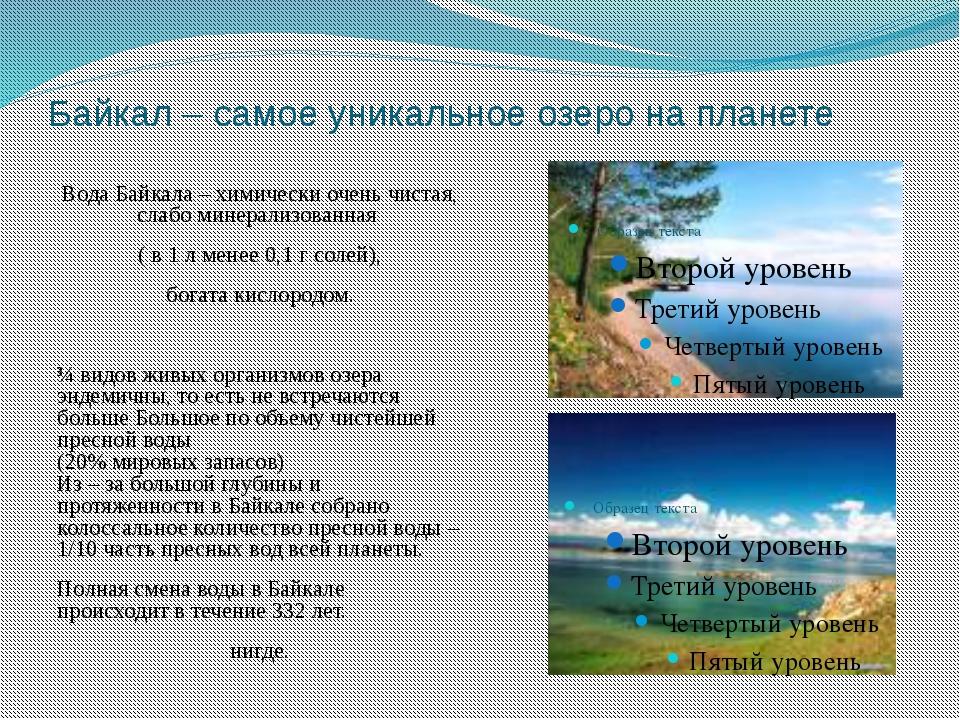 Байкал – самое уникальное озеро на планете Вода Байкала – химически очень чис...