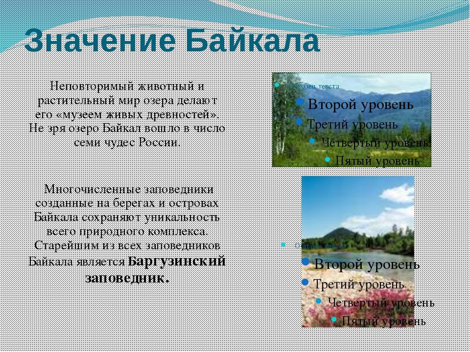Значение Байкала Неповторимый животный и растительный мир озера делают его «м...