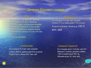 Деление Мирового океана Тихий Его площадь 178,62 млн. км2, средняя глубина (3