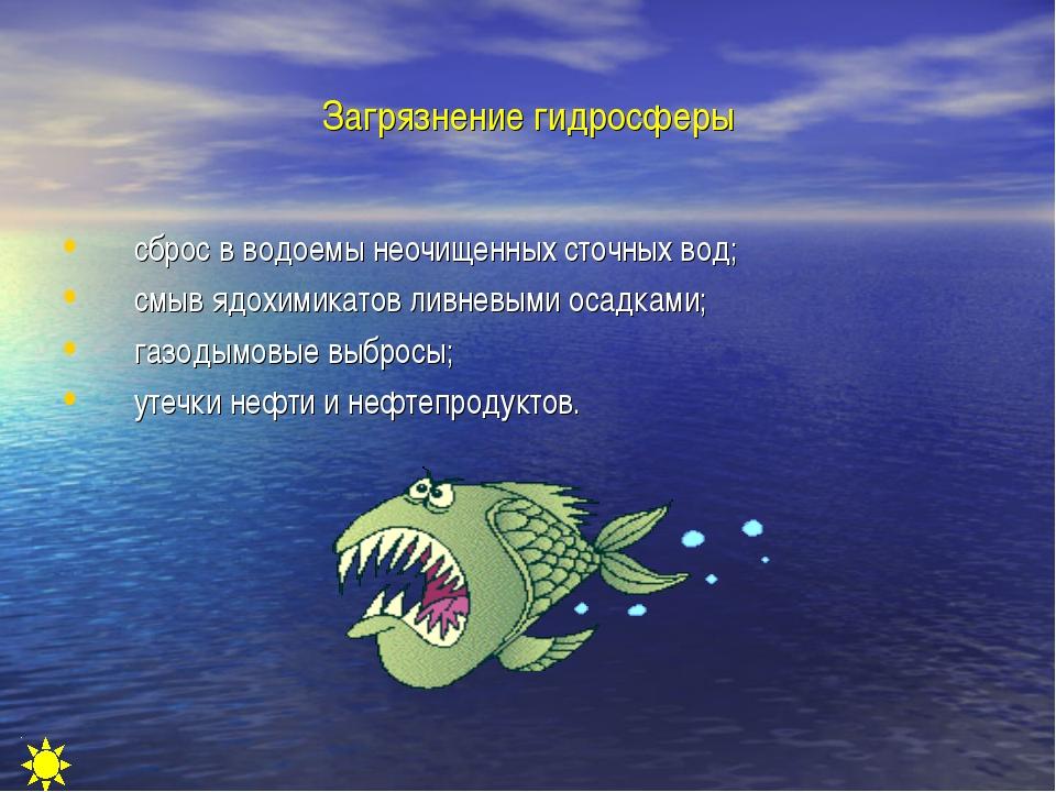 Загрязнение гидросферы сброс в водоемы неочищенных сточных вод; смыв ядохимик...