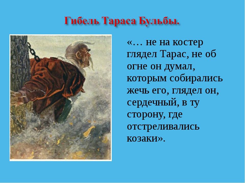 «… не на костер глядел Тарас, не об огне он думал, которым собирались жечь ег...