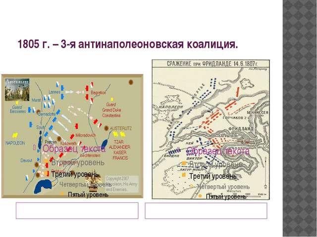 1805 г. – 3-я антинаполеоновская коалиция. 20 ноября 1905 г. – сражение под А...