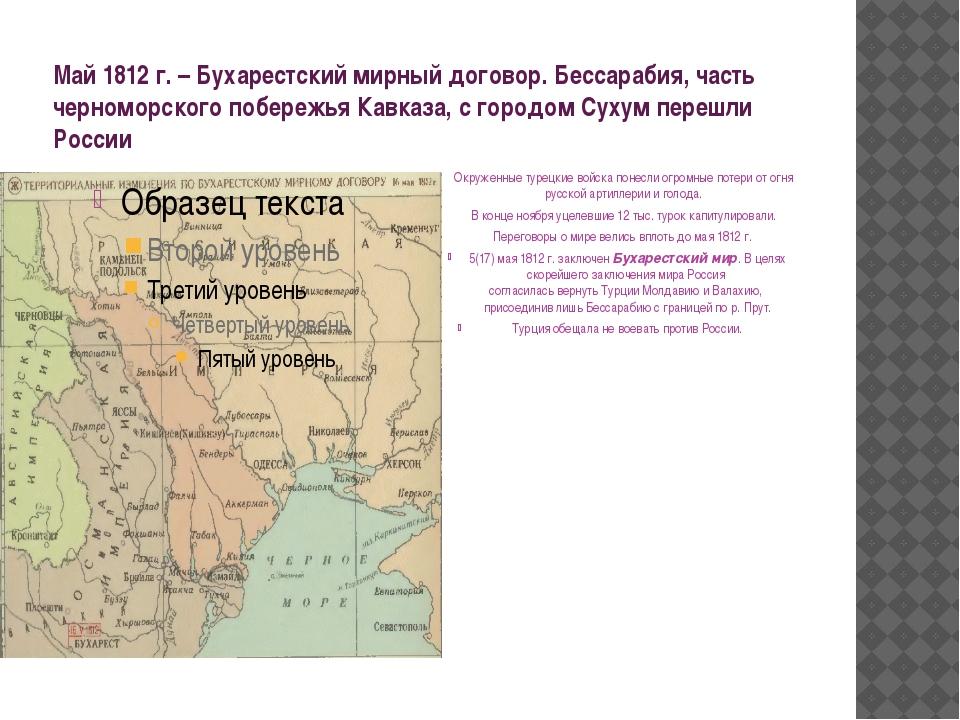 Май 1812 г. – Бухарестский мирный договор. Бессарабия, часть черноморского по...