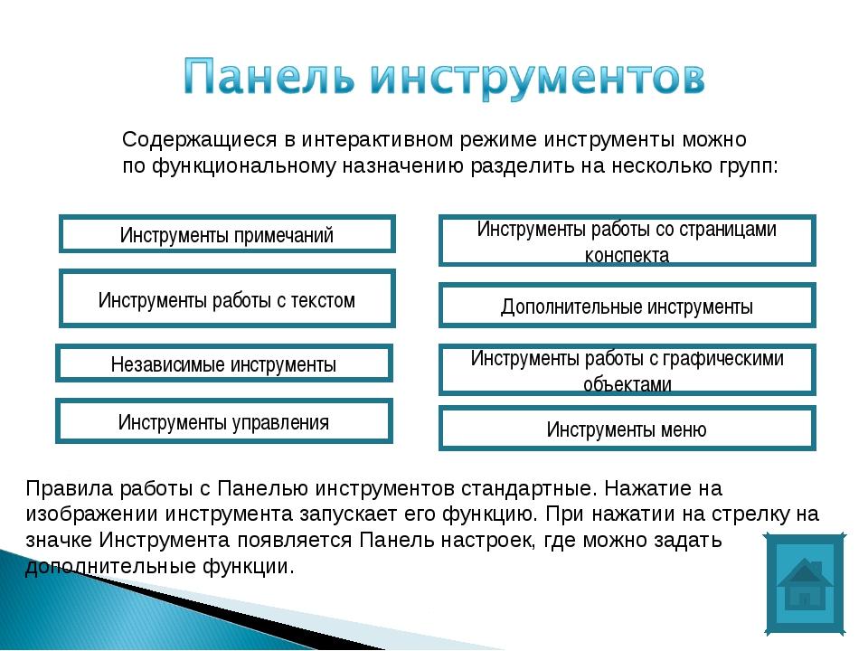Содержащиеся в интерактивном режиме инструменты можно по функциональному назн...