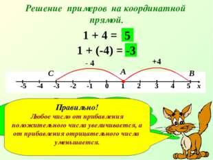 Решение примеров на координатной прямой. 1 + 4 = +4 А В 5 1 + (-4) = - 4 С -3