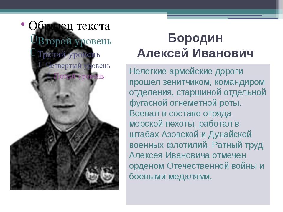 Бородин Алексей Иванович Нелегкие армейские дороги прошел зенитчиком, команди...