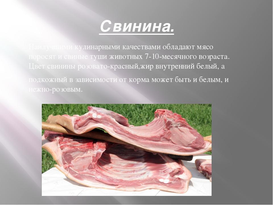 Свинина. Наилучшими кулинарными качествами обладают мясо поросят и свиные туш...