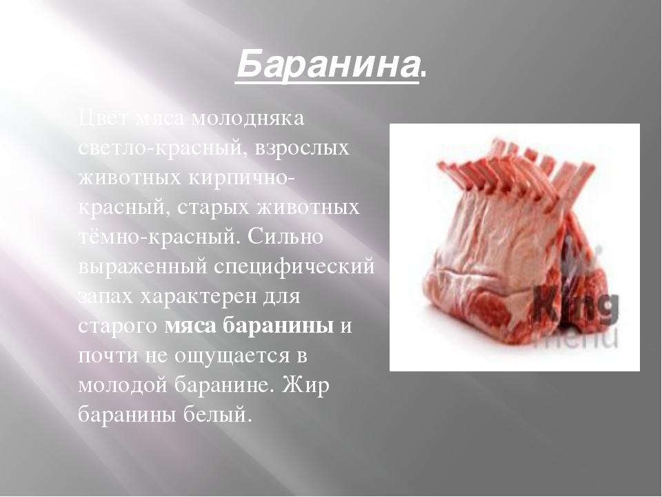 Баранина. Цвет мяса молодняка светло-красный, взрослых животных кирпично-крас...