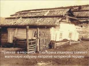 Приехав в Нерчинск, Екатерина Ивановна снимает маленькую избушку напротив кат
