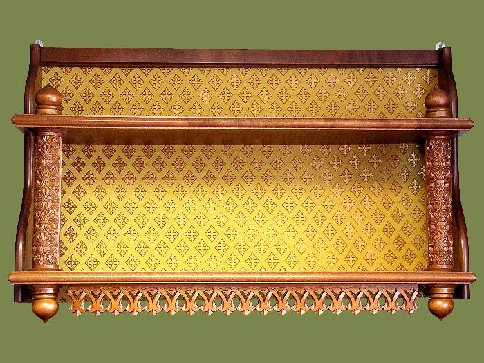 Полка прямая двухярусная с тканью. Артикул 18114