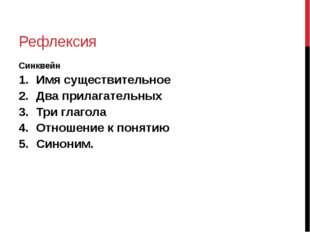 Рефлексия Синквейн Имя существительное Два прилагательных Три глагола Отношен