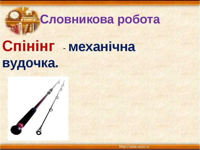 Словникова робота Спінінг - механічна вудочка.