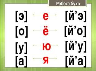 Работа букв е [э] [й'э] ё [о] [й'о] ю [у] [й'у] я [а] [й'а]