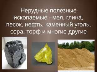 Нерудные полезные ископаемые –мел, глина, песок, нефть, каменный уголь, сера,