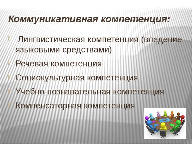 Коммуникативная компетенция: Лингвистическая компетенция (владение языковыми...