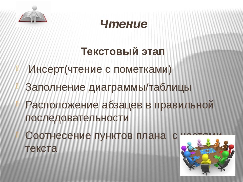 Чтение Текстовый этап Инсерт(чтение с пометками) Заполнение диаграммы/таблицы...