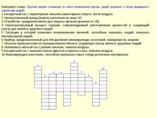 Ответы: Ключевое слово – катастрофа 1-аммиак, 6-дозиметр, 2-эвакуация, 7-ава