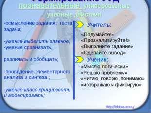 -осмысление задания, теста задачи; -умение выделить главное; -умение сравнива