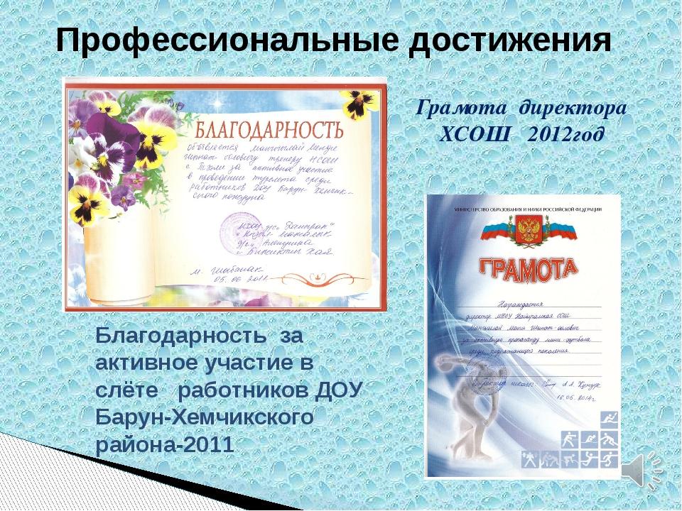 Профессиональные достижения Грамота директора ХСОШ 2012год Благодарность за а...