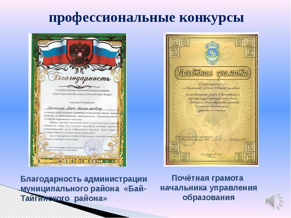 профессиональные конкурсы Почётная грамота начальника управления образования...