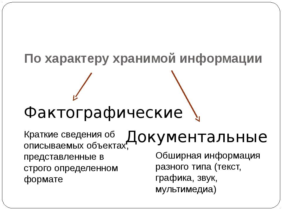 По характеру хранимой информации Фактографические Документальные Краткие свед...