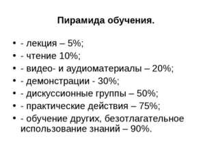 Пирамида обучения. - лекция – 5%; - чтение 10%; - видео- и аудиоматериалы – 2