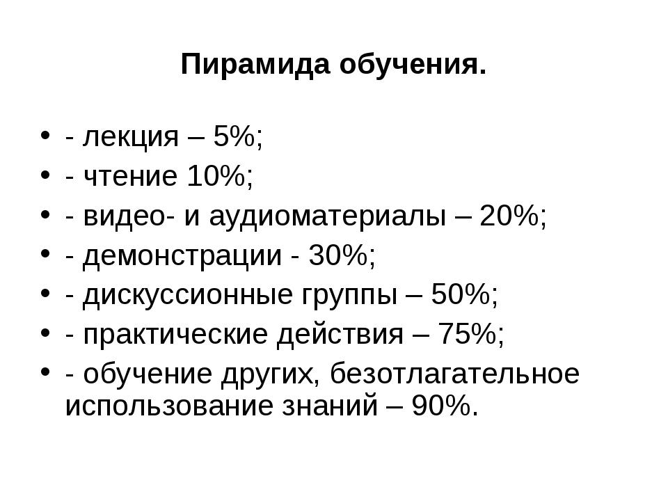 Пирамида обучения. - лекция – 5%; - чтение 10%; - видео- и аудиоматериалы – 2...