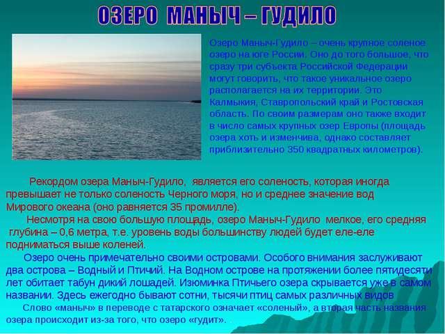 Озеро Маныч-Гудило – очень крупное соленое озеро на юге России. Оно до того б...